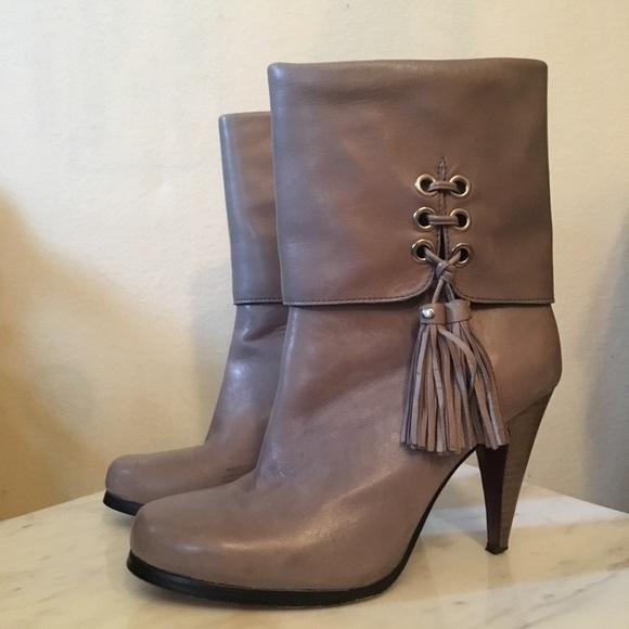 Legra Grey Tassel High Heel Booties Sz